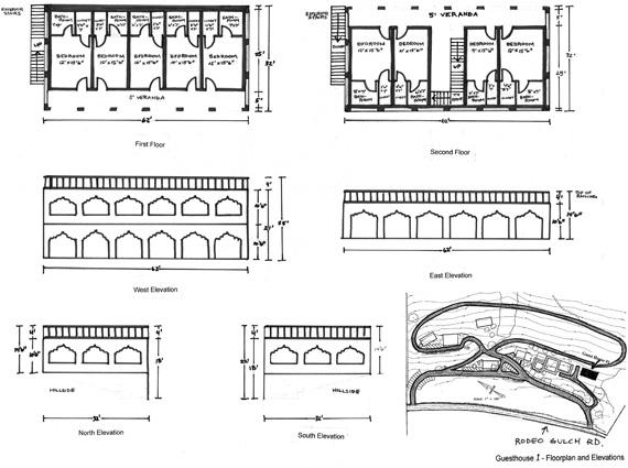 Floor plan of one devotee guesthouse