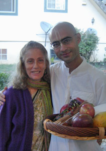 Srimati Bimala Didi and her newly initiated nephew Binoy Krishna who came from Brazil. Her mother, niece and now her nephew are disciples of Srila Gurudev