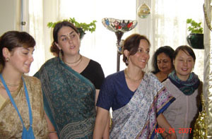 Nadia Devi Dasi from Santa Cruz, Kisori Didi from Utah, Tunga Prema Didi from Arizona, Alpona Bannerjee fom San Jose, and Nalina Sundari Devi Dasi currently living in San Jose Ladies Ashram.