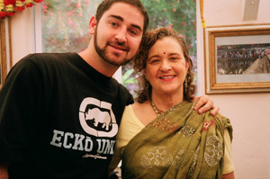 Rasangi Didi, who made her famous soup for Srila Gurudev every day during his visit, here with her son Rasaraj Prabhu.