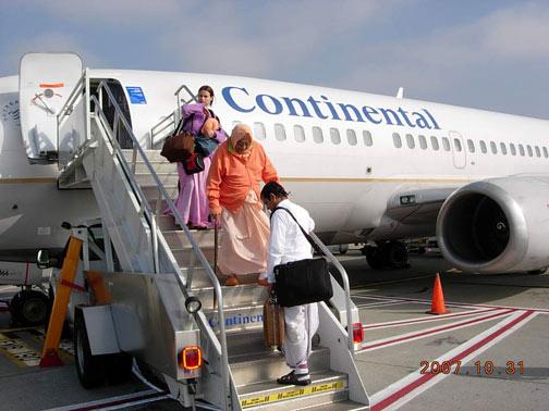 Srila Gurudev arrives in the U.S.A. First stop in Houston, Texas