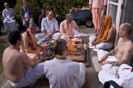 Fire sacrifice for Gayatri initiation