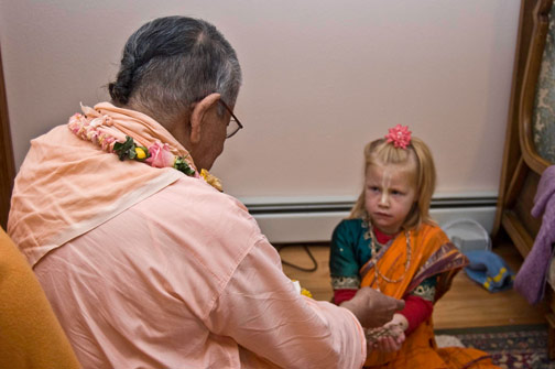 Syama Mohini,daughter of Braja Mohini didi and Jayanta Krsna prabhu receives the holy name.