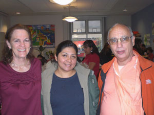 Sanatani Didi, Reina the director of Beach Flat Community Center and Janardan Maharaj. Reina has been working with us on this project for 12 years.