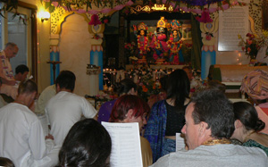 As the program goes on more and more devotees happily join in.