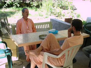 Nyasi Maharaj graced us with a visit on this holy day and Kamal Krsna took advantage of his association.