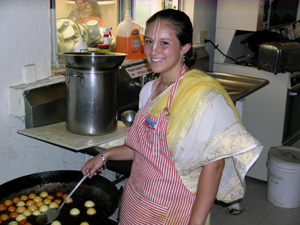 As the Temple receives the decorating seva the kitchen is also busy. Kumari Jahnavi makes her now famous Gulabjamins.