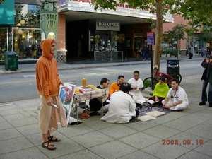 Our Devotees gathered on the main street in downtown Santa Cruz and began to chant the Holy Name.