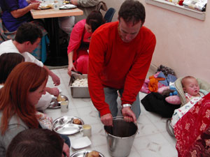 Krsna Bhusan Prabhu helped to serve one of the many preparations.