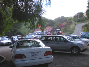 As the devotees gathered the parking lot filled up....