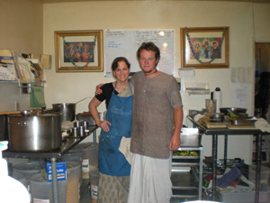 Now that the plates were on the altar it was possible to capture photos of some of the kitchen crew. Here is Sanatani Didi and Shatrughna Prabhu.