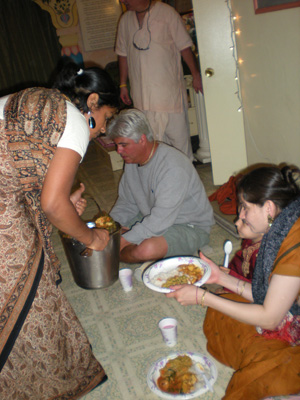 Vrinda Didi serves curd sabji.