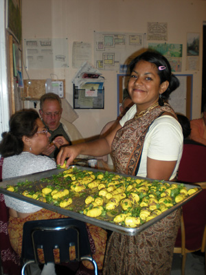 Vrinda serves the Khandvi.