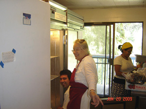 The refrigerators get a thorough cleaning form Harindhu Prabhu and Sureshwari Didi and Vrinda Didis.