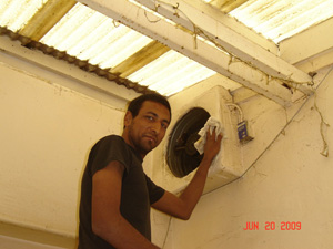 Alex, a new friend of the Ashram helped to clean the exhaust fans.