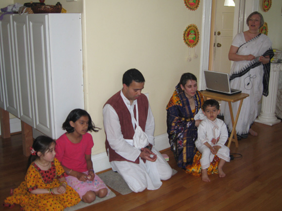 Young Lavanika, Sita (daughter of Nandarani Didi and Ramananda Prabhu), Jairam Prabhu, Abha Didi with her son Nabh on her lap and Kumkum Didi. We are all very happy to welcome this family into our spiritual community.