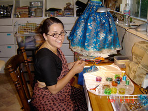 Vaidehi Devi Dasi assisted by sewing for both Mahaprabhu here in Soquel and in San Jose.