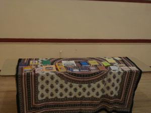 A beautiful book table is always set up.