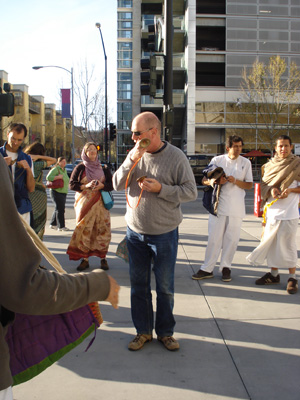 Jatindra Mohan is always enthusiastic about leading kirtan.