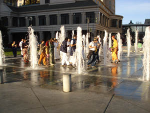 the fountain was beckoning to take part in the sankirtan.
