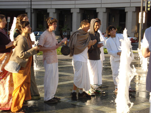Even the bystanders were smiling and charmed by the sweetness of the devotees mood.