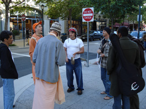 The devotees gathered in downtown Santa Cruz on Pacific Ave.