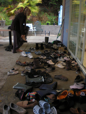 So many shoes show how many devotees have come for this occasion!