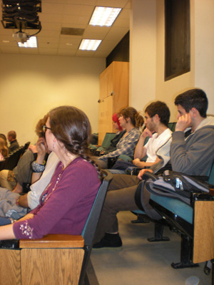 Many students attended and asked thoughtful questions about the popular Darwinian theory of evolution, the meaning of devotional service, Quantum physics, etc