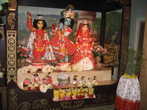Their Divine Lordships Sri Sri Guru Gauranga Gandharvika Giridharijiu in beautiful new garments made by Swarnangii Devi and her helpers.