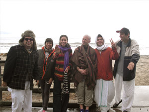 Our honorable visitors from Tijuana and Southern California:  Jaganath Swami Prabhu,  Jahnavi didi, Ana, Naveen Krishna Prabhu (who is actually staying at the Ashram for several months), Madhu Gopal Prabhu, and Purna Brahma Prabhu.  Gopal from Miami took the picture.